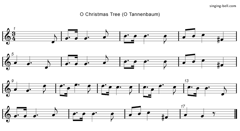 O Christmas tree Music Score Singing-Bell