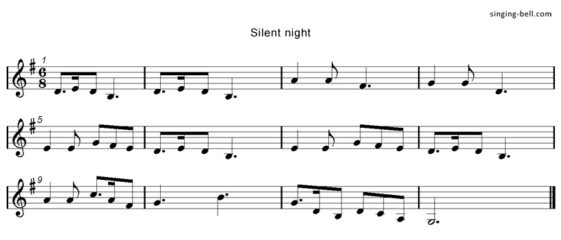 Silent Night Score Singing-Bell