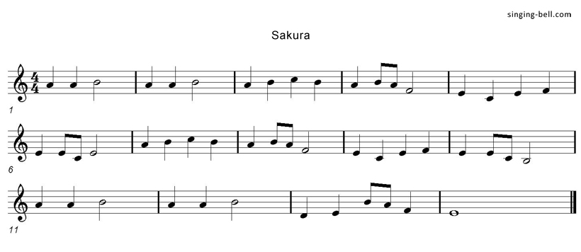 Sakura Music Score Singing-Bell