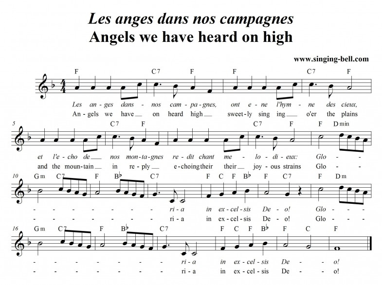 Angels we have heard on high (Les anges dans nos campagnes) score in F