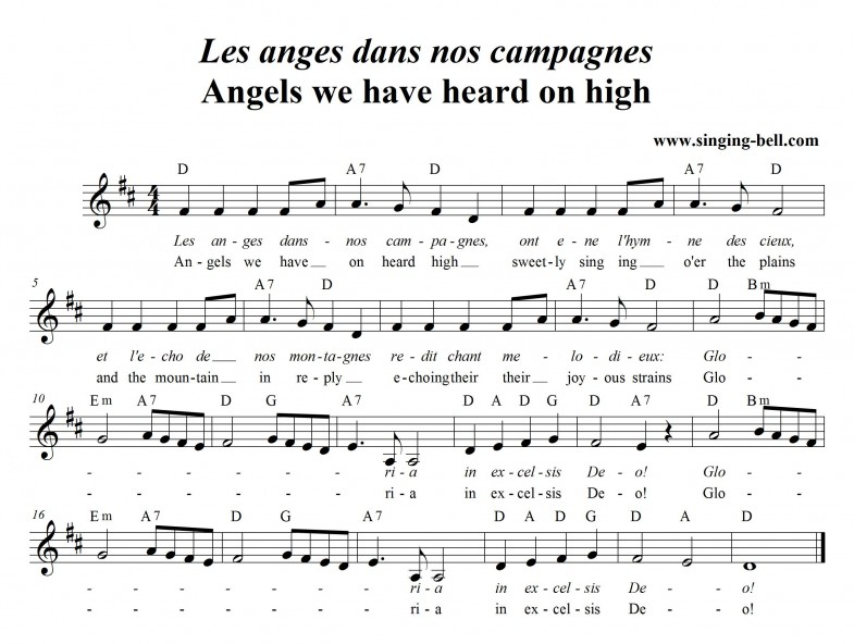 Angels we have heard on high (Les anges dans nos campagnes) score in D