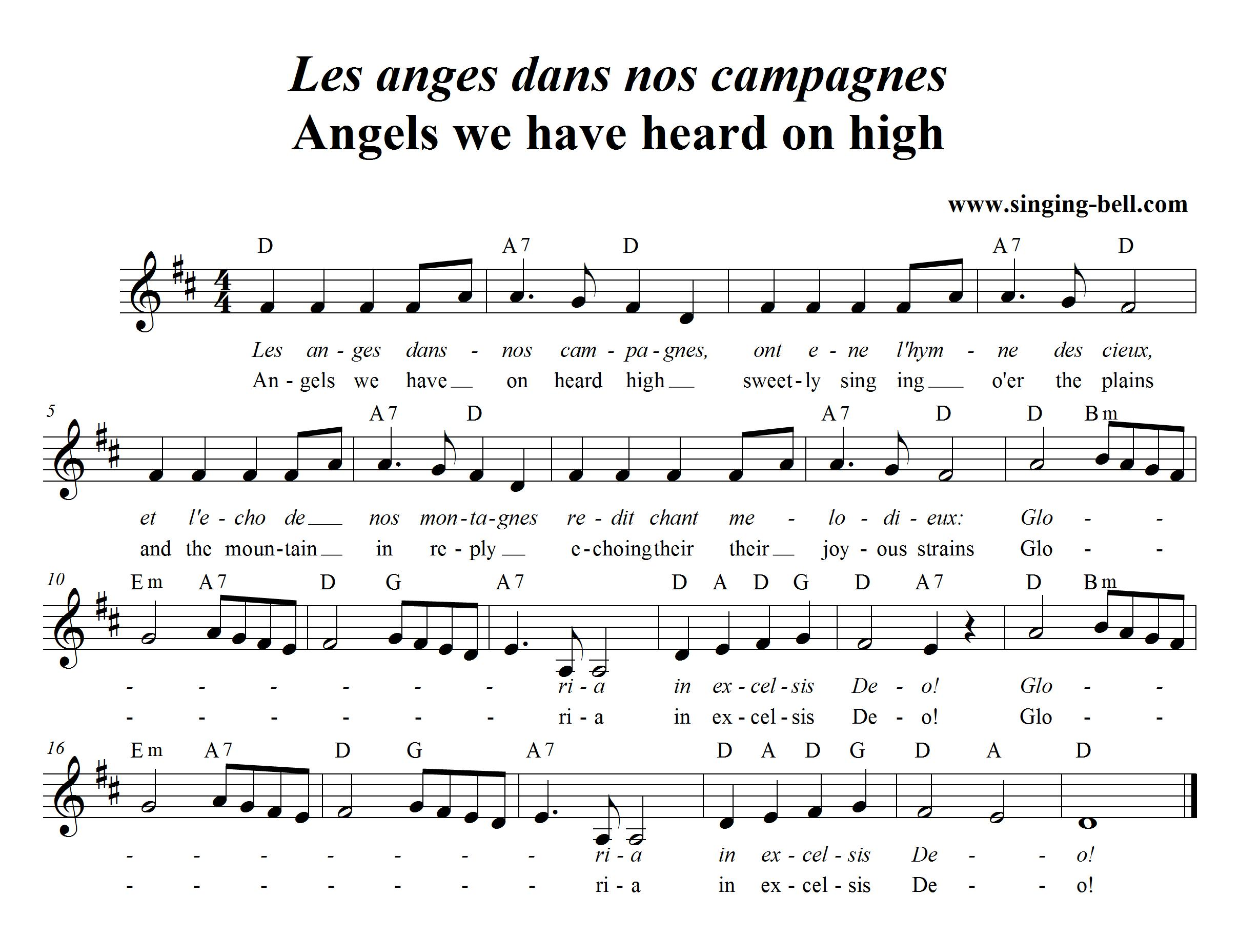 Free Christmas Carols > Angels we have heard on high (Les anges dans nos campagnes) - free mp3 ...