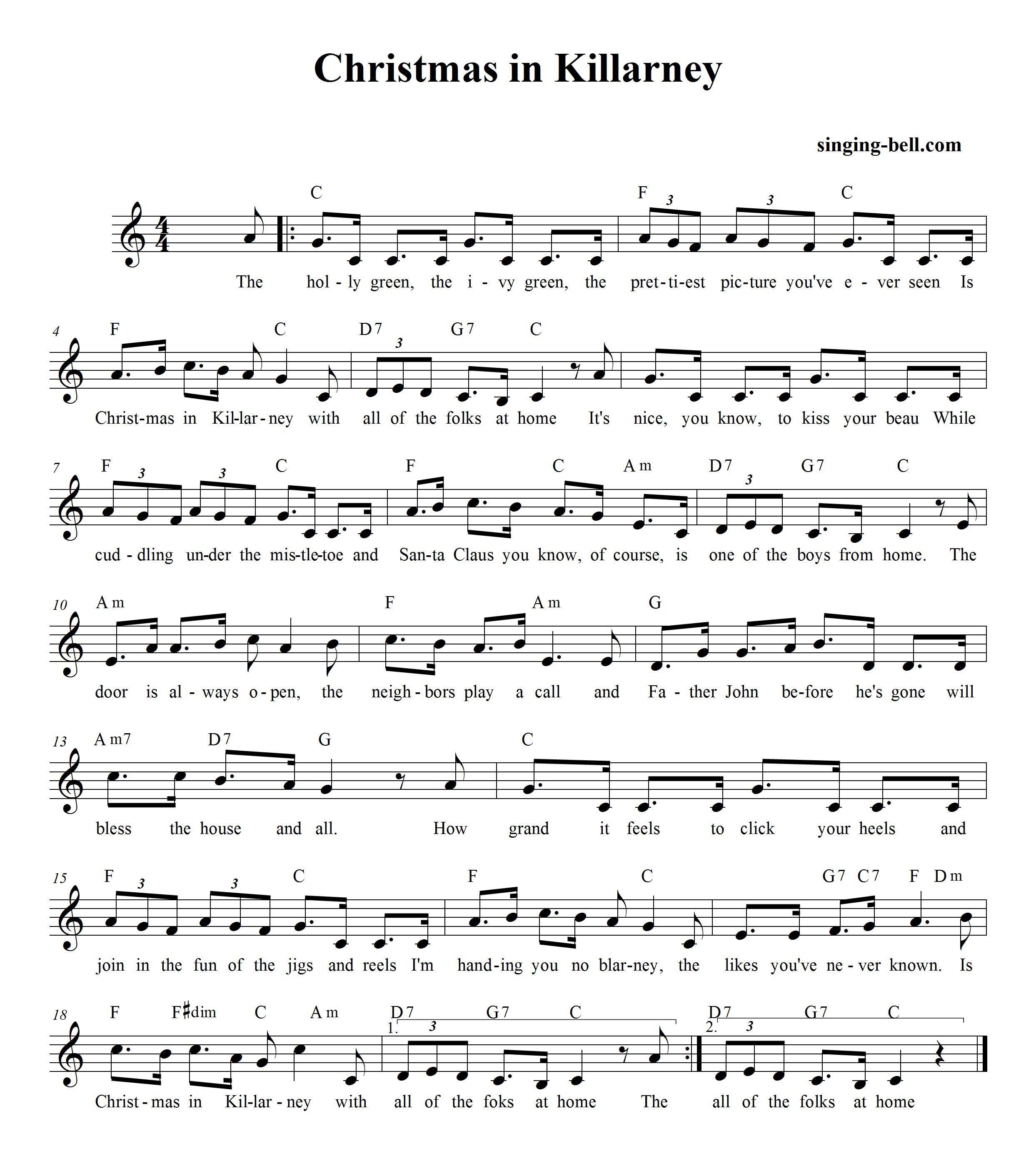 Christmas in Killarney_singing-bell