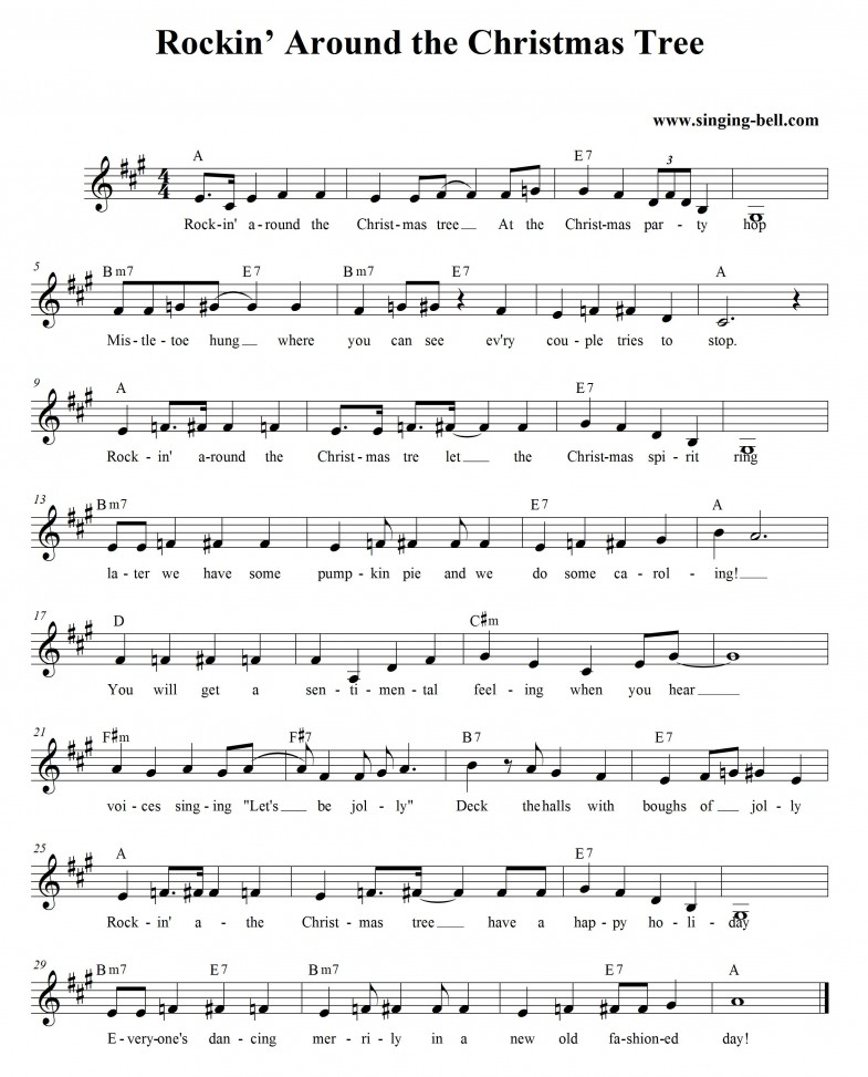 Rockin' around the Christmas tree - Free Christmas music score download