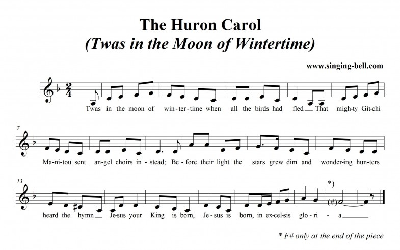 The Huron Carol (Twas in the Moon of Wintertime) Free Christmas music Score Download