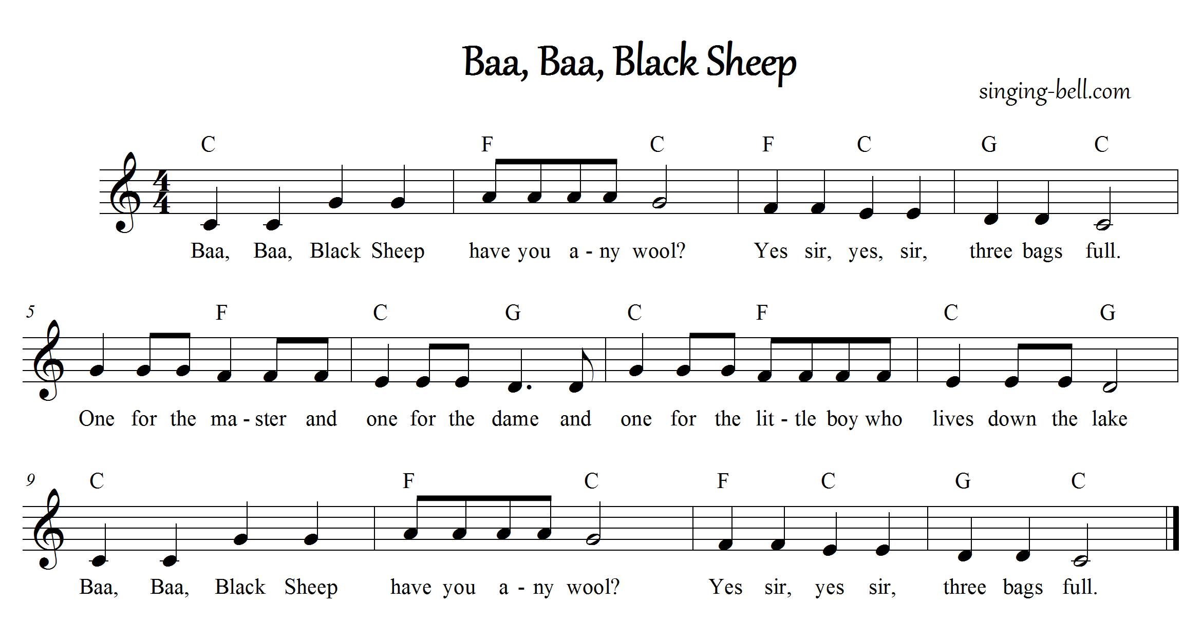 Piano music northshore music school baa baa black sheep hexwebz Choice Image
