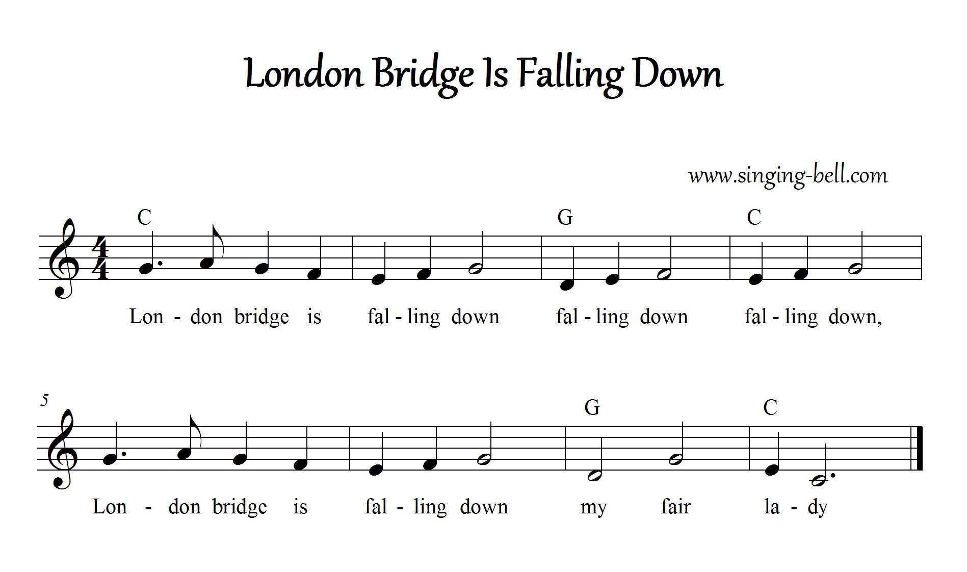 London Bridge Is Falling Down Instrumental Nursery Rhyme - Free Music Score Download