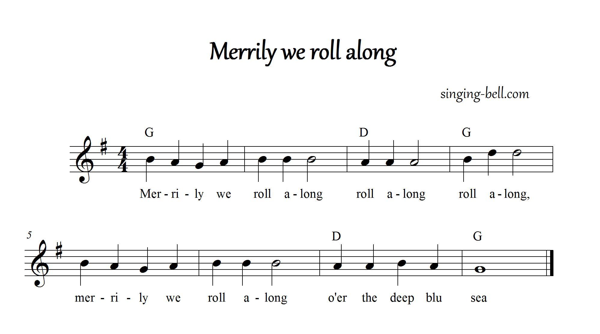 Merrily We Roll Along Free Nursery Rhymes