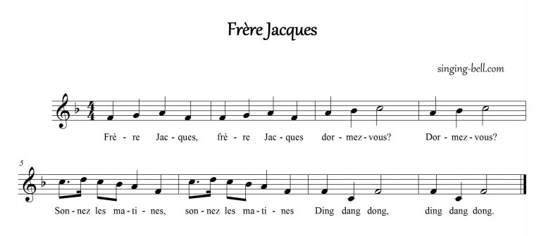 """Frère Jacques"" Music Score / sheet music in F"