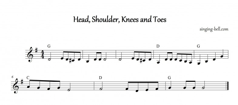 Head,Shoulder,Knees and Toes Instrumental Nursery Rhyme - Free Music Score Download (in G)