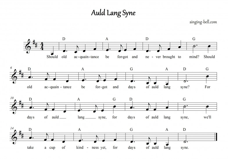 Auld Lang Syne free music score download
