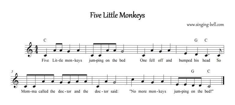 Five Little Monkeys Singing-Bell