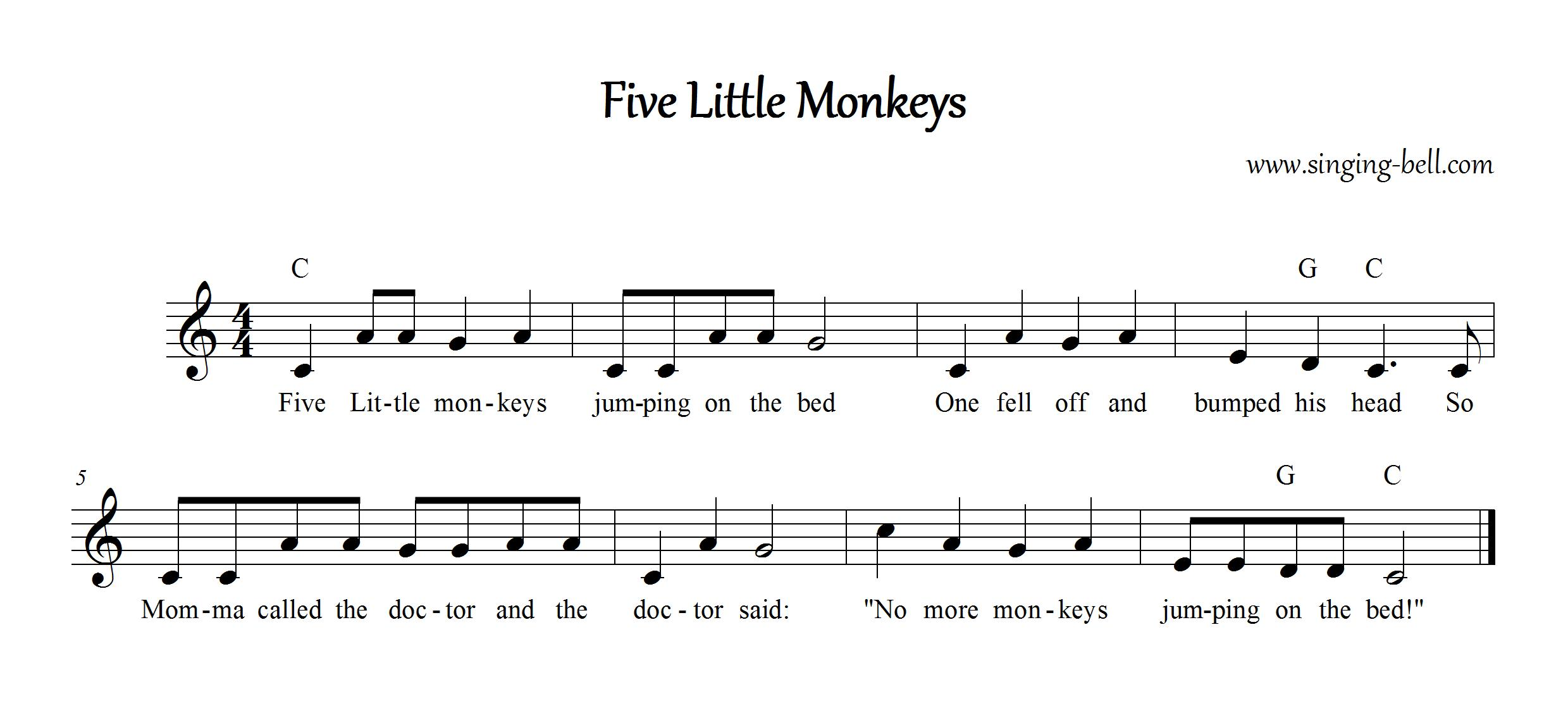 Five Little Monkeys Instrumental Nursery Rhyme - Free Music Score Download