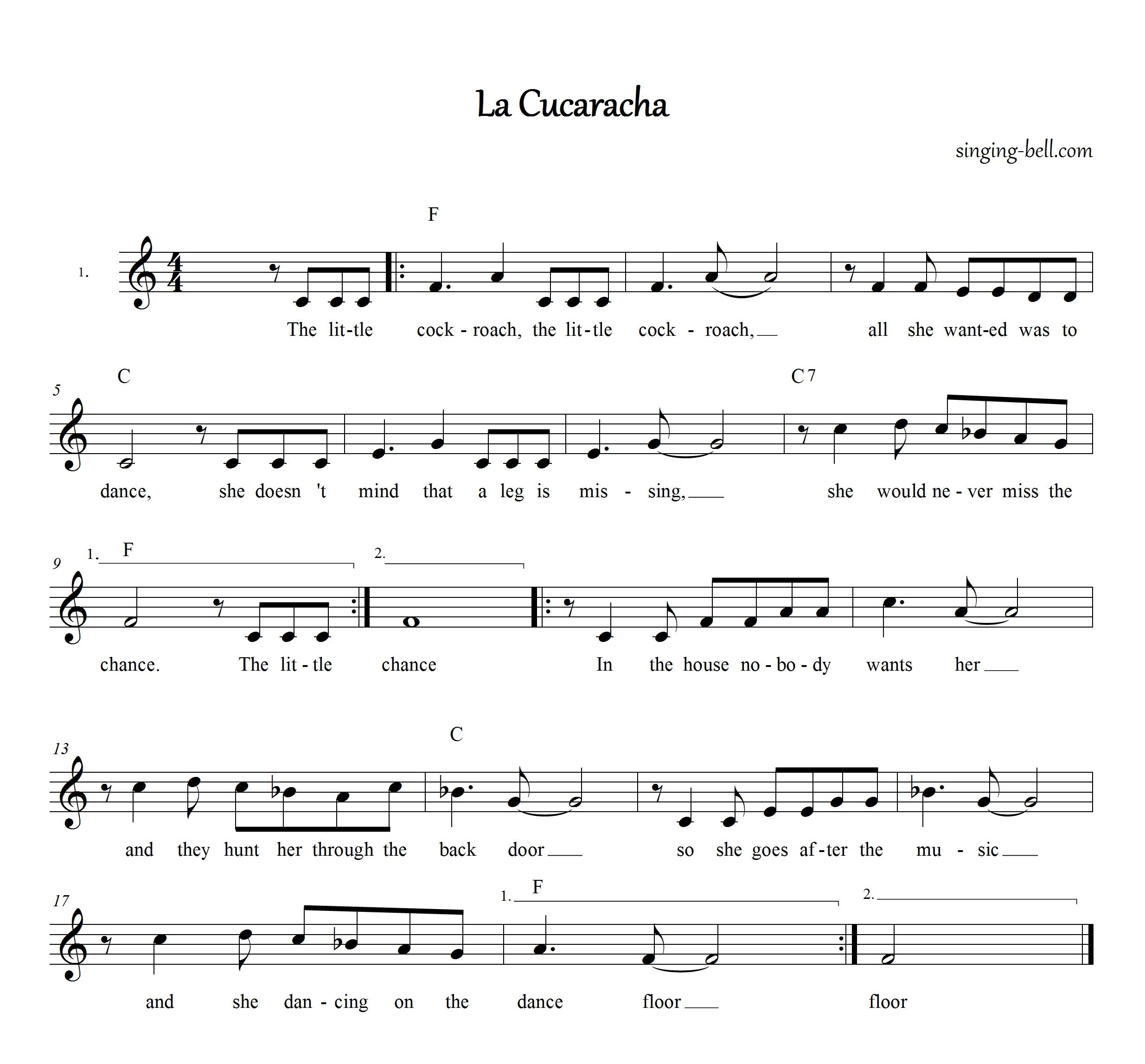 La Cucaracha_english_Singing-Bell