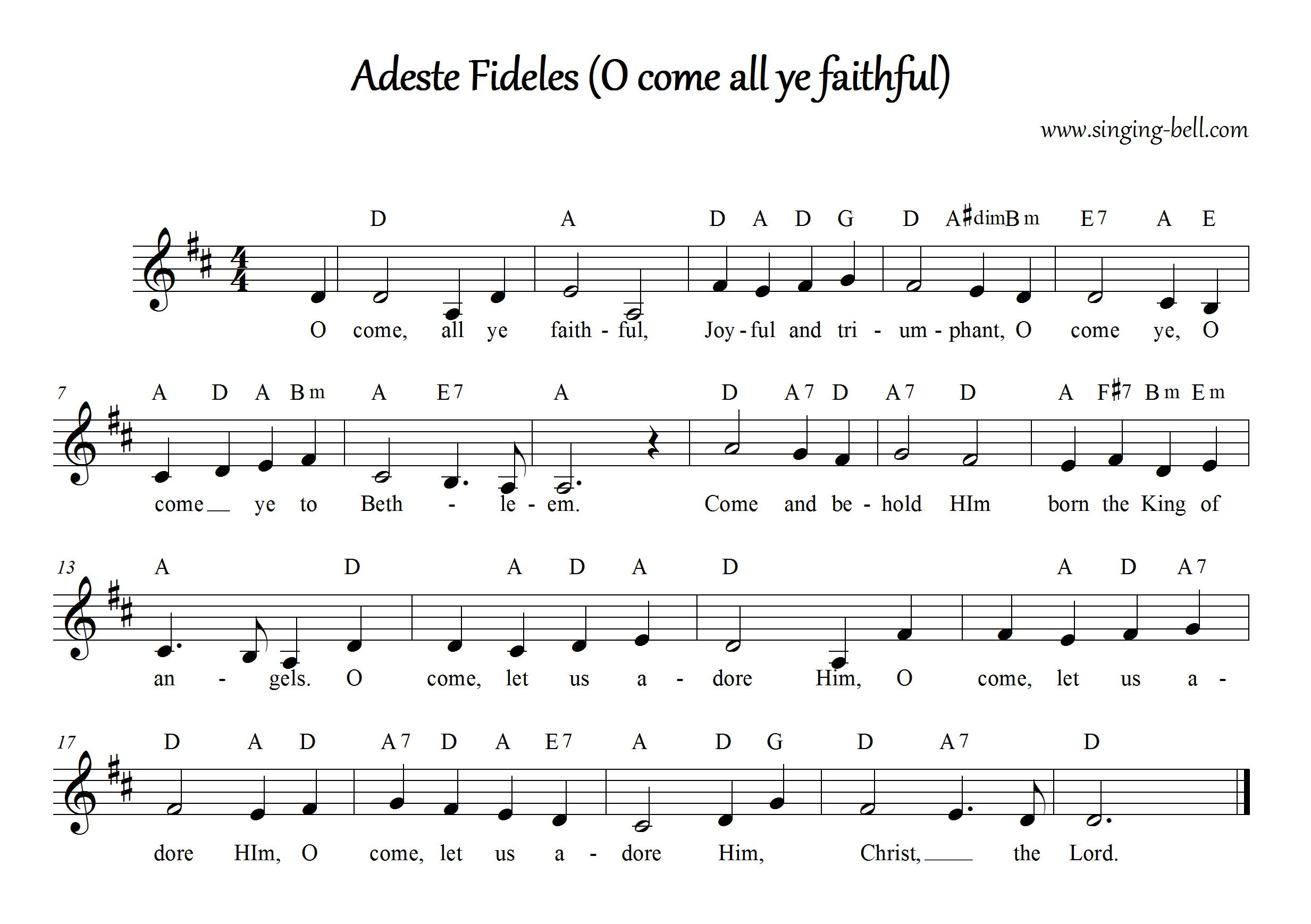 O Come All Ye Faithful (Adeste Fideles) - Christmas Music Score (in D)