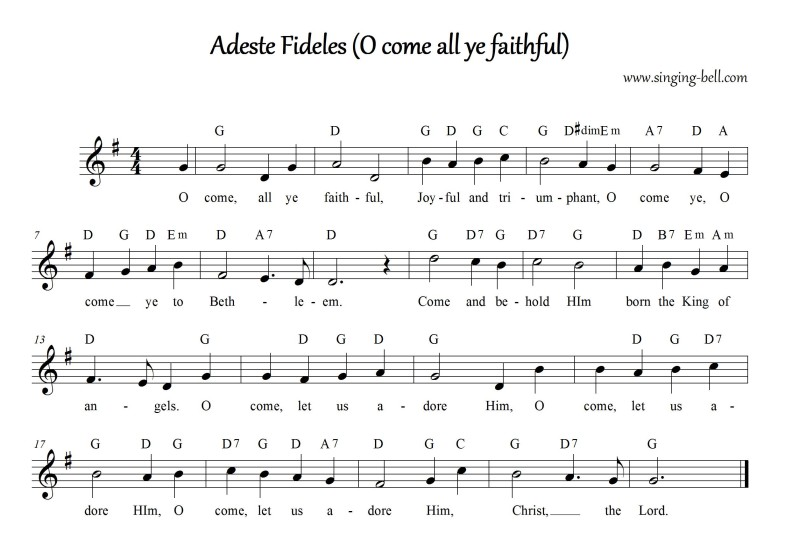 O Come All Ye Faithful (Adeste Fideles) - Christmas Music Score (in G)