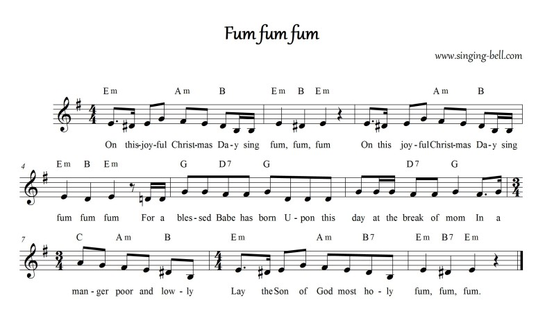 Fum Fum Fum (English) - Christmas Music Score (in Em)
