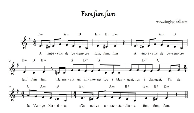 Fum Fum Fum (Catalan) - Christmas Music Score (in Em)
