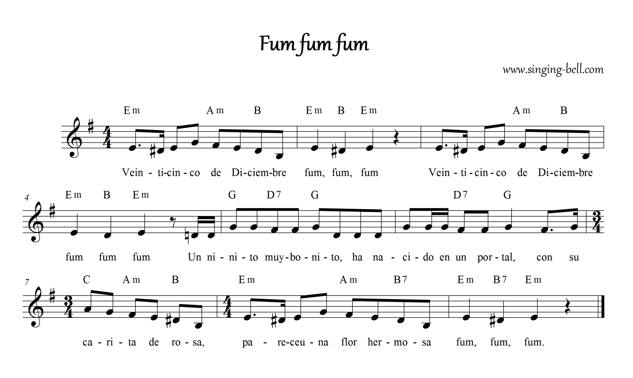 Fum Fum Fum (Spanish) - Christmas Music Score (in Em)