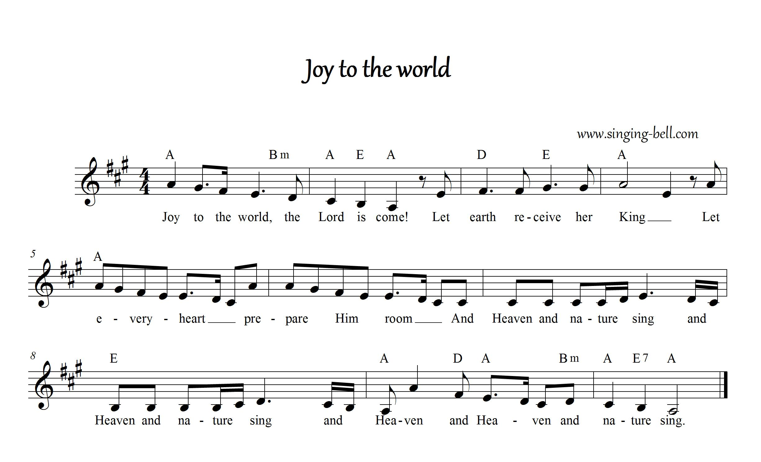 This is a graphic of Exhilarating Joy to the World Lyrics Printable