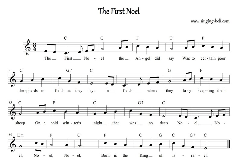 The First Noel - Christmas Music Score (in C)