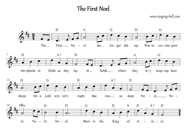 The First Noel - Christmas Music Score (in D)
