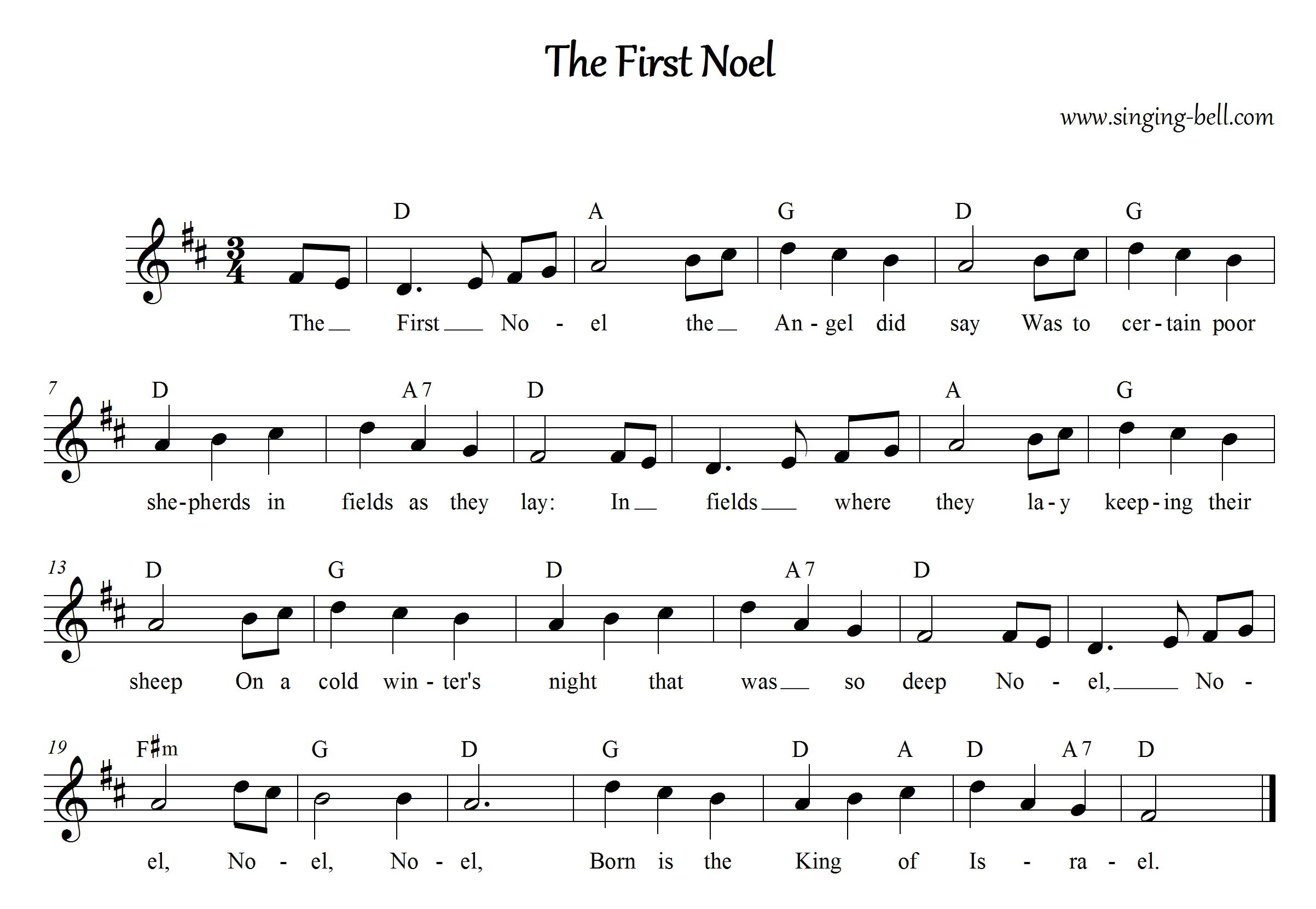 The First Noel Free Christmas Carols