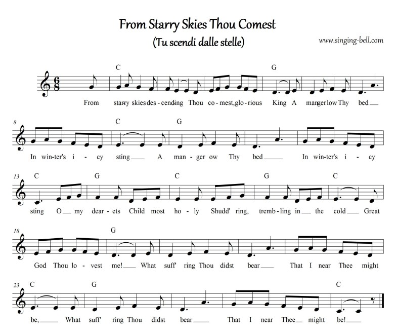 From starry skies (Tu scendi dalle stelle) Free Christmas Music Score Download (in C)
