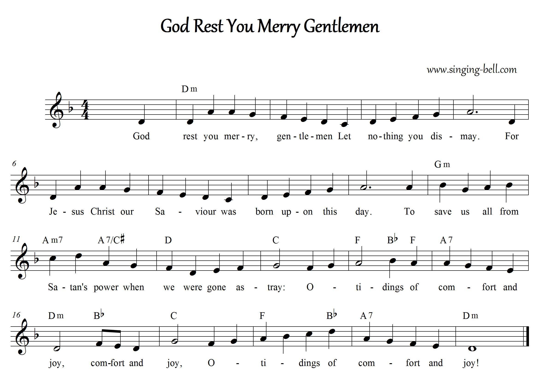 God Rest you merry Gentlemen - Christmas Music Score (in Dm)