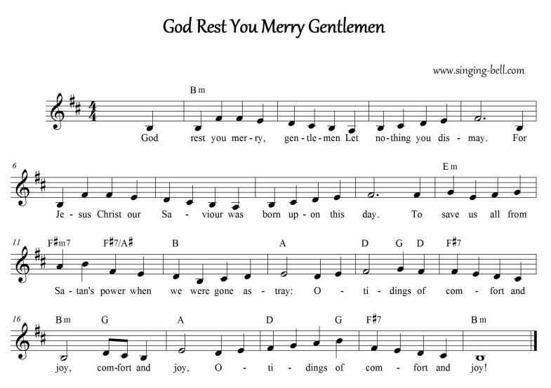 God Rest you merry Gentlemen Free Christmas Music Score Download (in Bm)