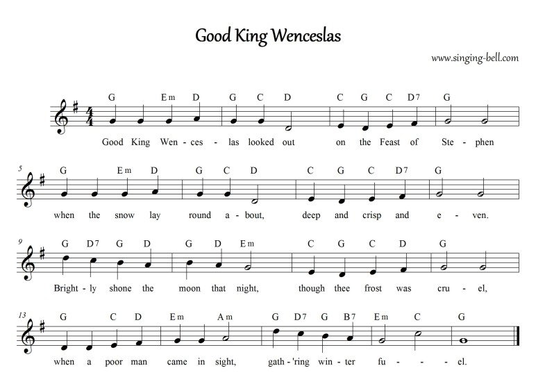 Good King Wenceslas - Christmas Music Score (in G)