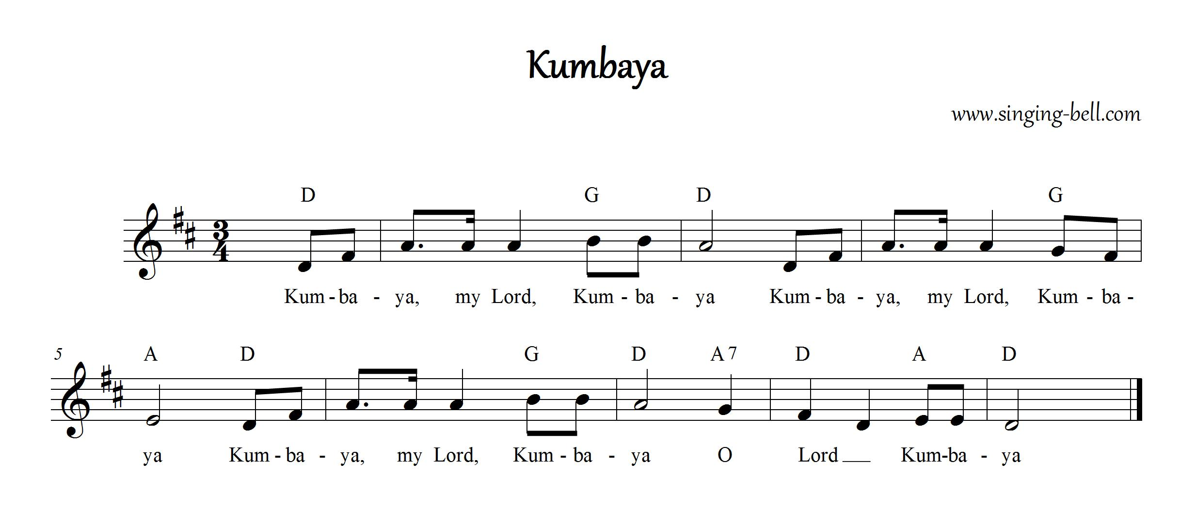 "To save this free music sheet of ""Kumbaya"" to your computer, right ..."