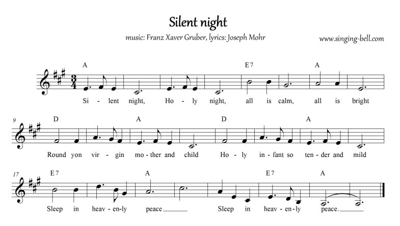 Intrepid image inside silent night lyrics printable