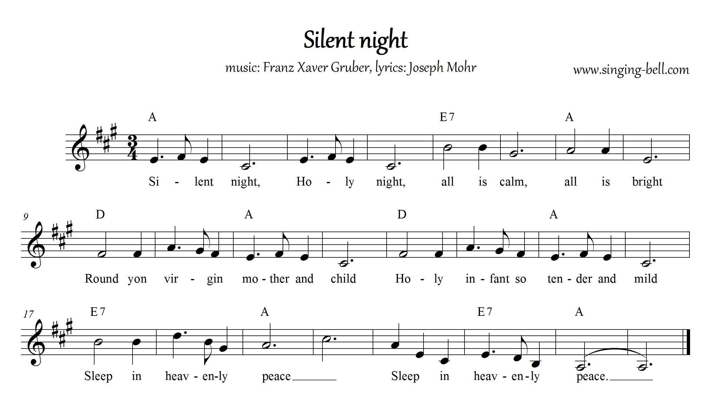 Silent Night - Christmas Music Score (in A)