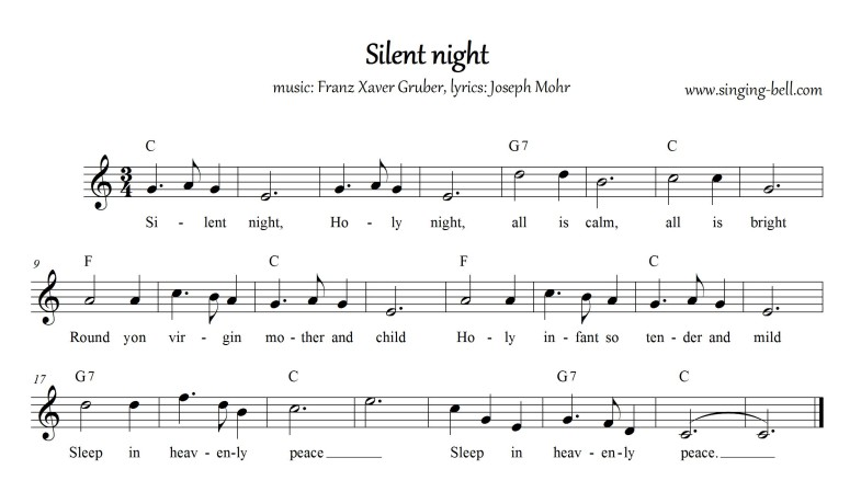 Silent Night - Christmas Music Score (in C)