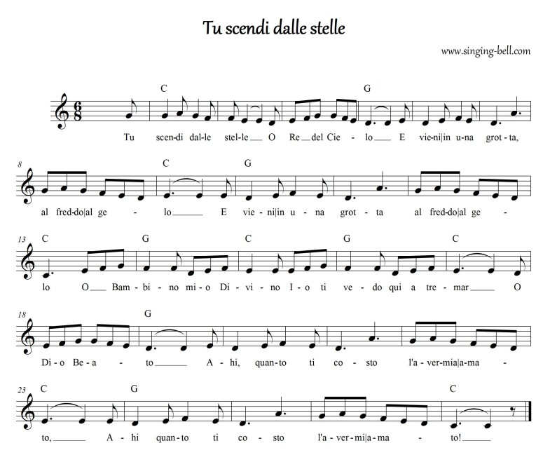 Tu scendi dalle stelle Free Christmas Music Score Download (in C)
