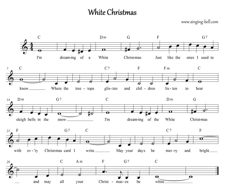 White Christmas - Music Score (in C)