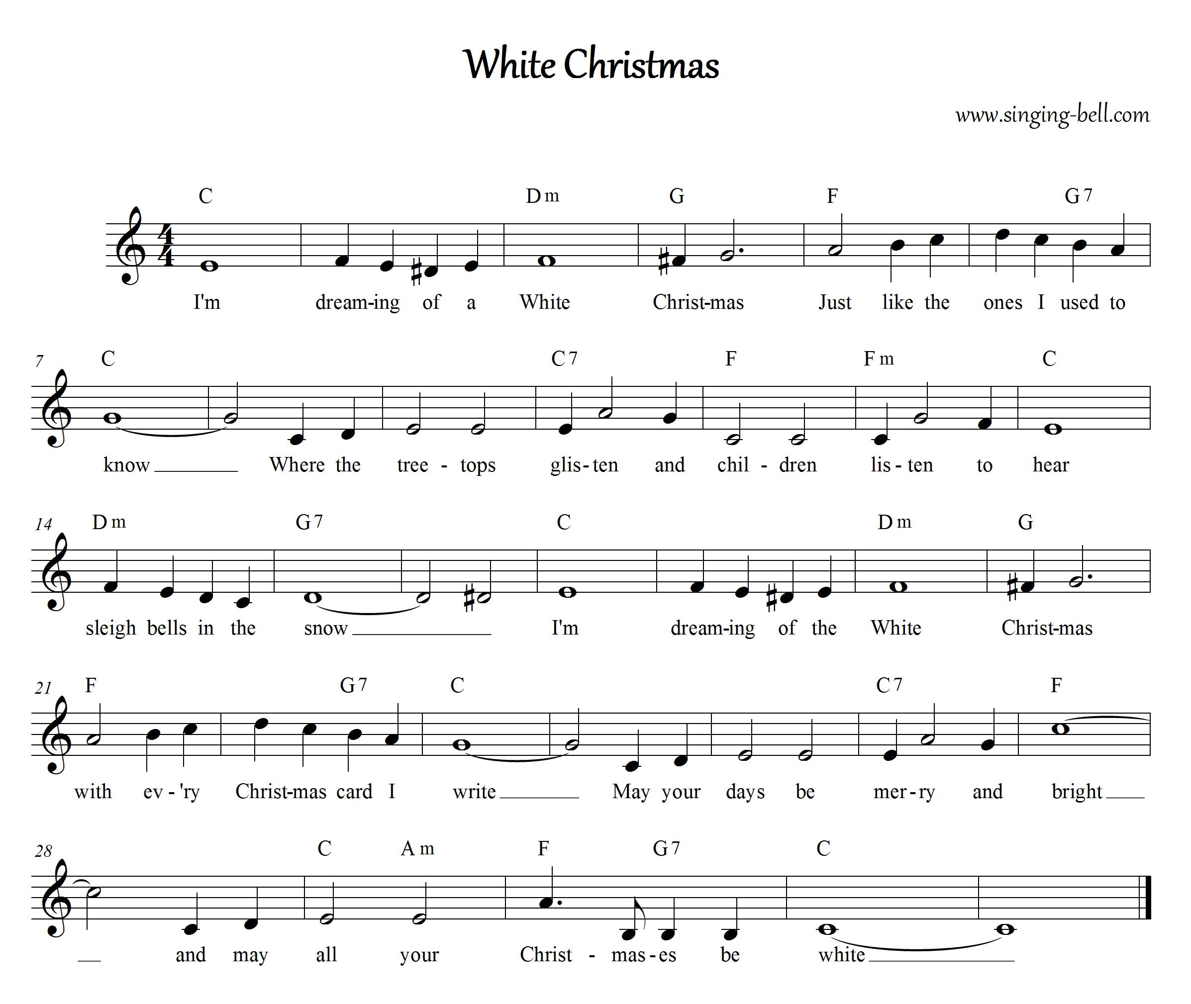 White Christmas | Free Christmas Carols