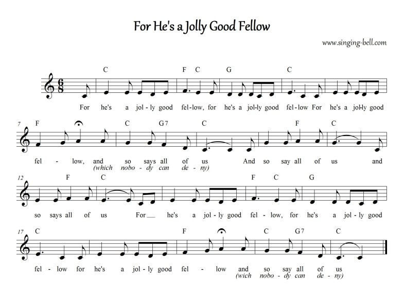For He's a Jolly Good Fellow_C_Singing Bell