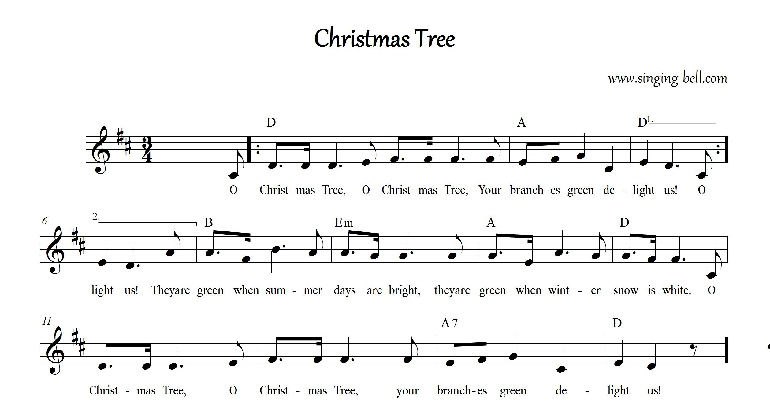 christmas tree_d_singing bell - Oh Christmas Tree How Lovely Are Your Branches Lyrics