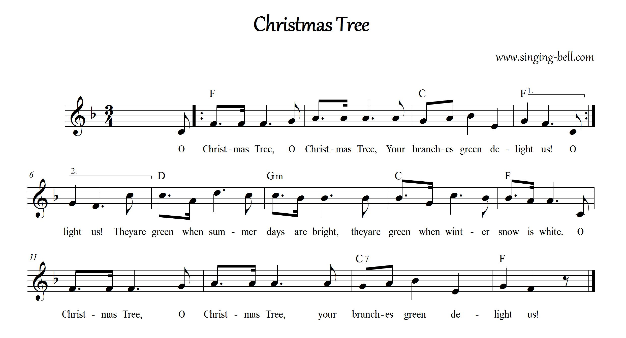 Catchy Collections of Christmas Tree O Christmas Tree Lyrics ...