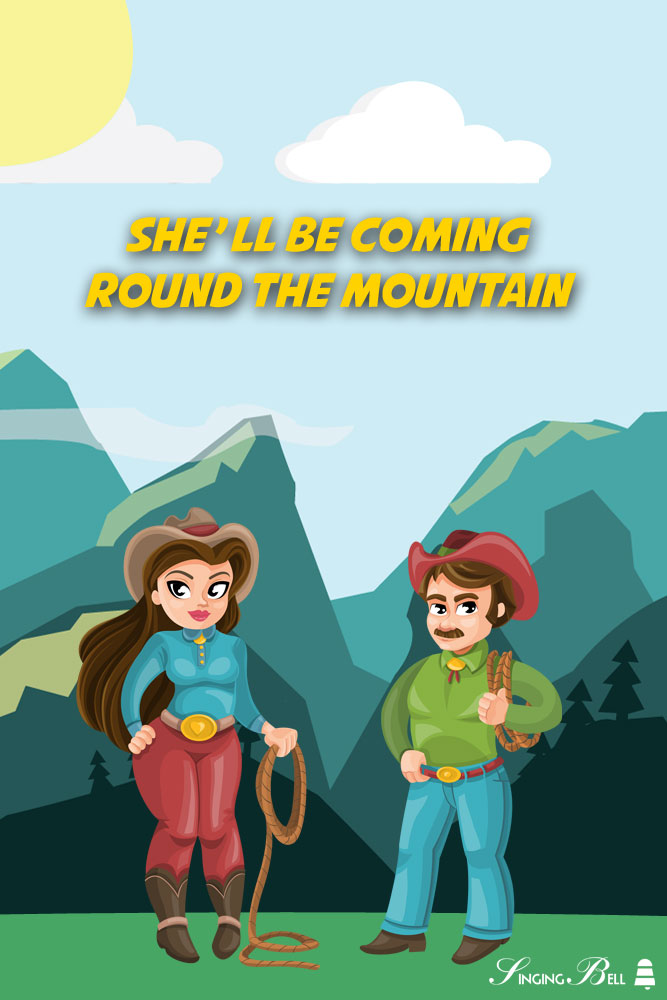 She'll be coming round the mountain | Free Nursery Rhymes karaoke mp3 download