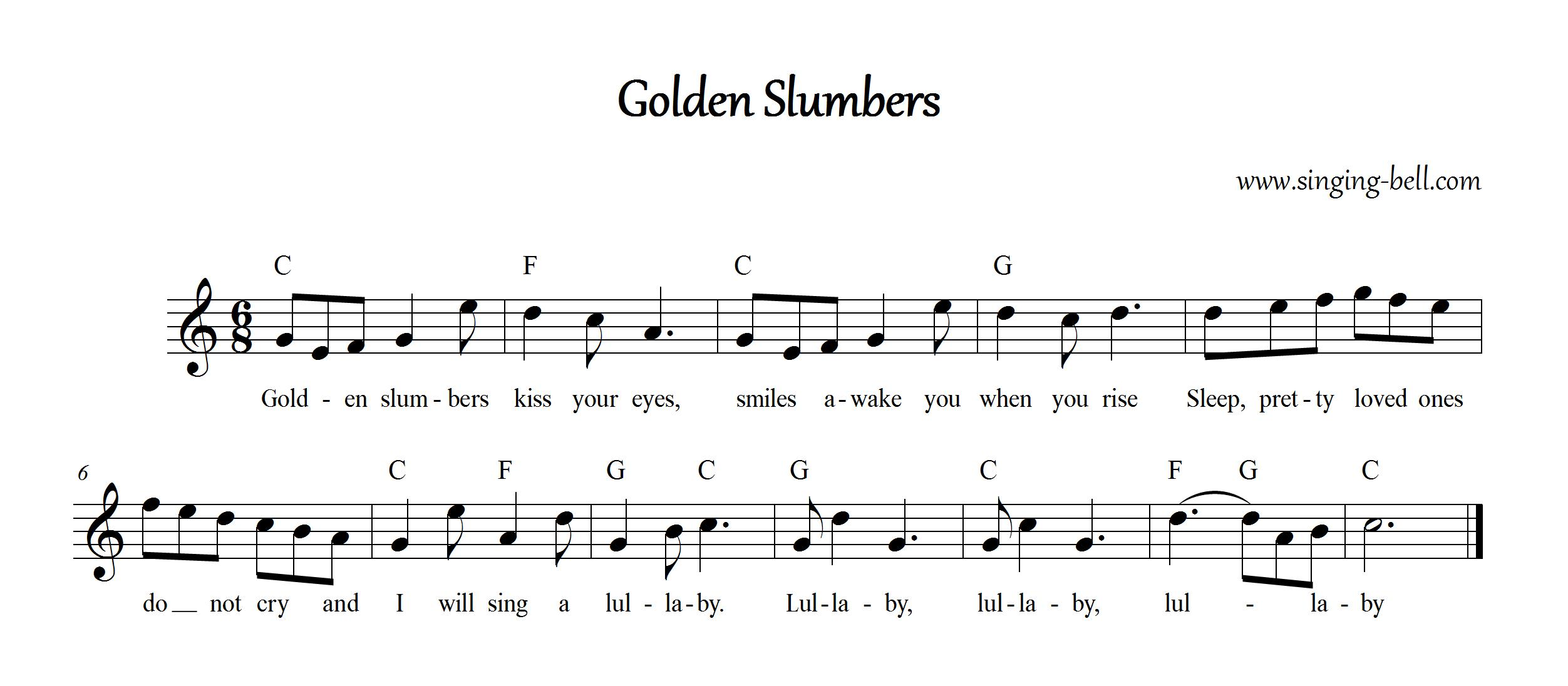 """Golden Slumbers"" Music Score with chords in F"