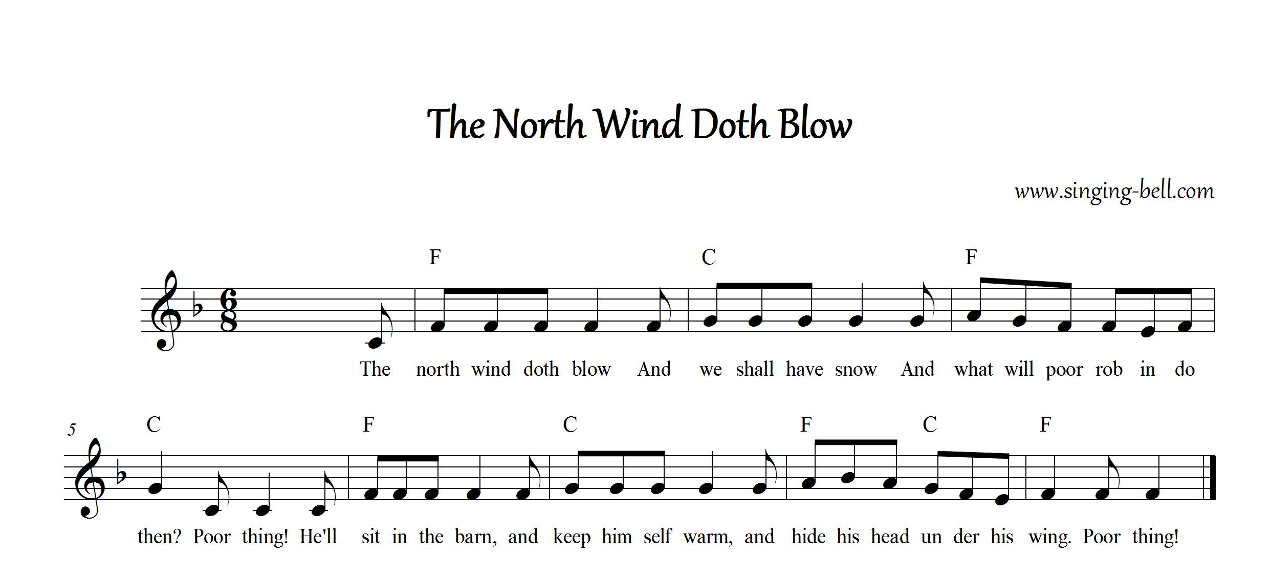 The North Wind Doth Blow Free Nursery Rhyme Music Score in F