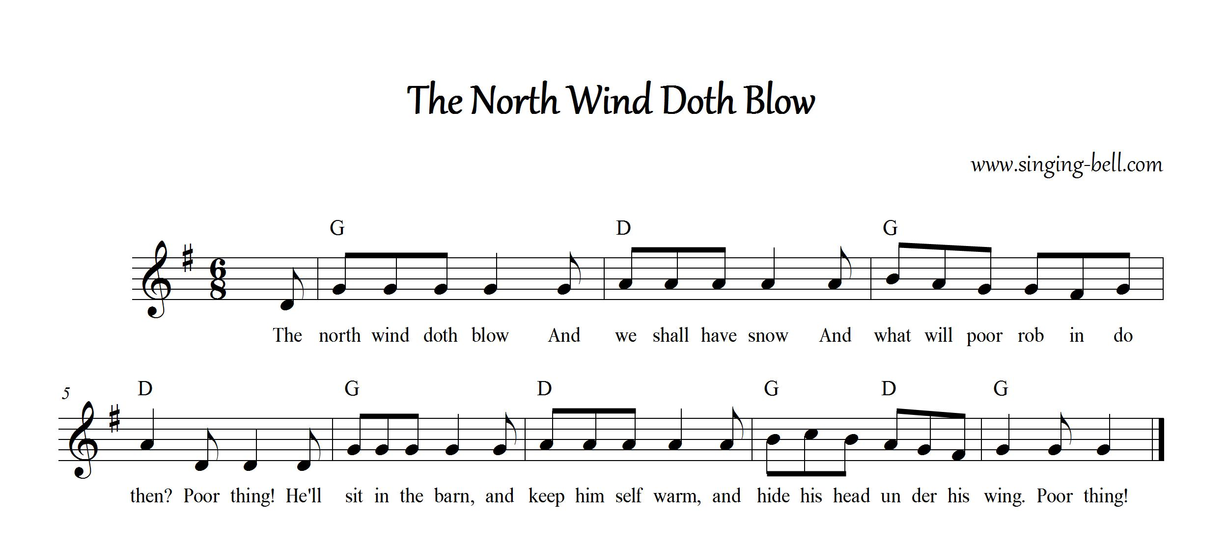 The North Wind Doth Blow Free Nursery Rhyme Music Score in G