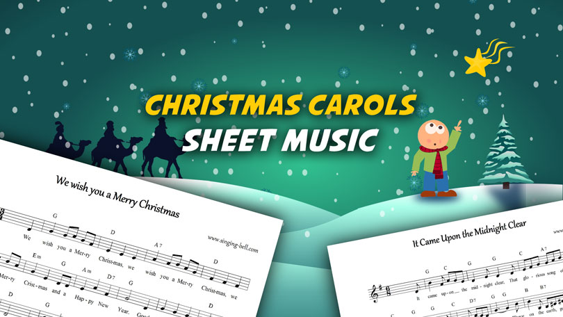 12 music scores of popular christmas hits for free download.