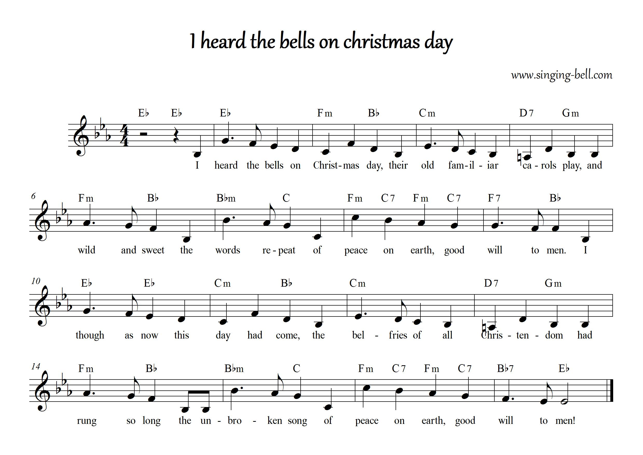 I Heard The Bells On Christmas Day Lyrics.I Heard The Bells On Christmas Day Free Christmas Carols