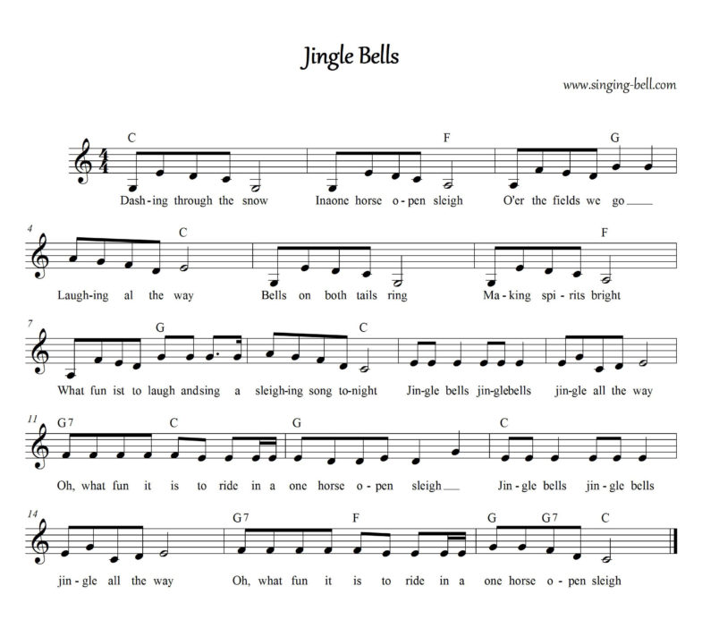 Jingle Bells - Christmas Music Score (in C)