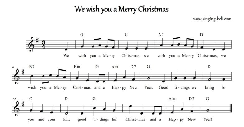 We wish you a merry Christmas - Christmas Music Score (in G)
