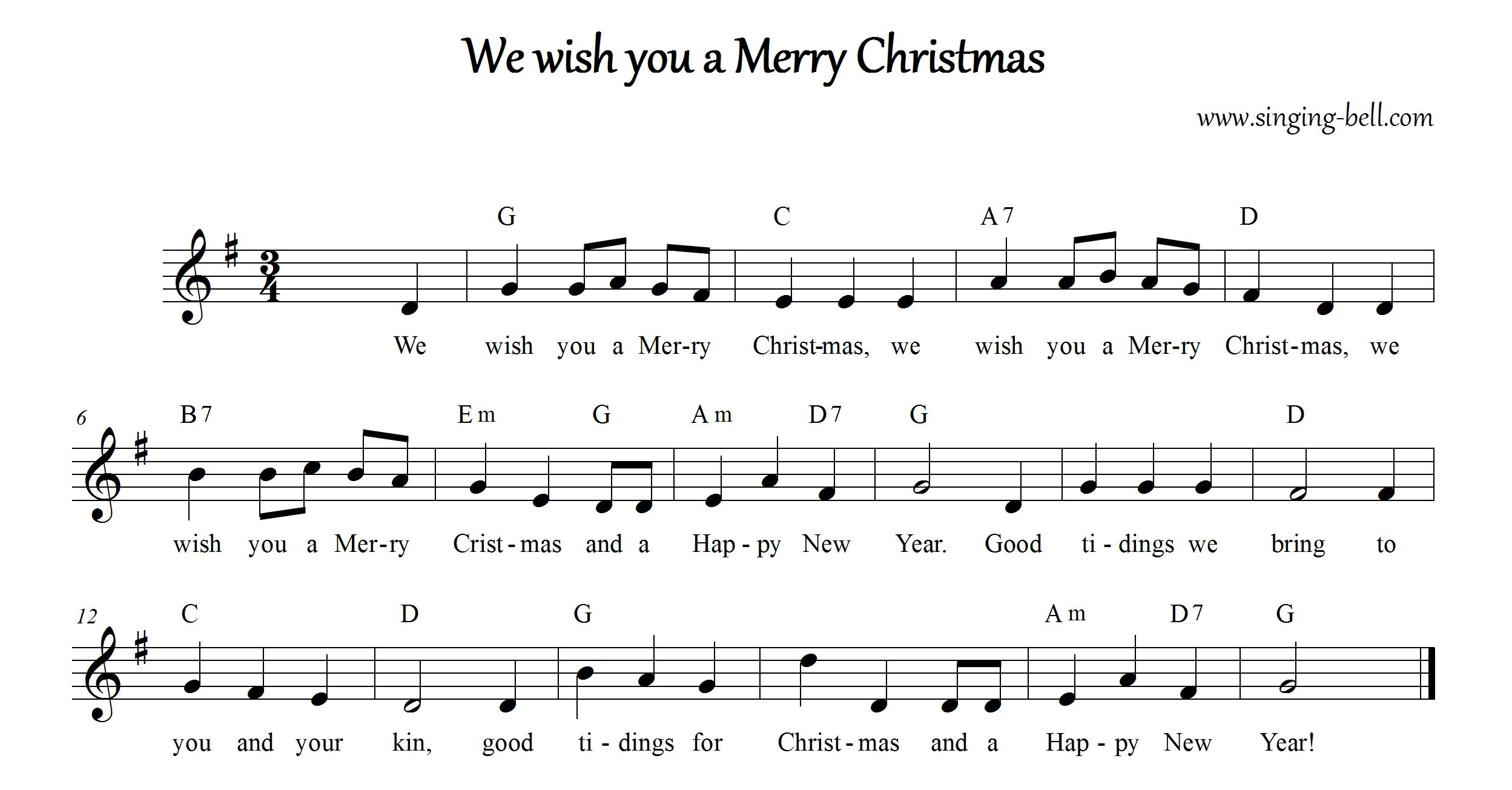 we wish you a merry christmas music score with chords